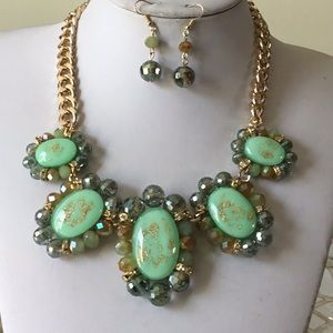 Light green oval lucite bead necklace earring set